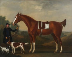 "John Beard, Groom to Captain Bertie, Holding ""Sportsman"" aged 10, his Bay Hunter"