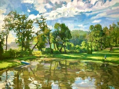 Down at the Pond, Landscape Painting with Water, Blue Sky, Green Trees, Figure