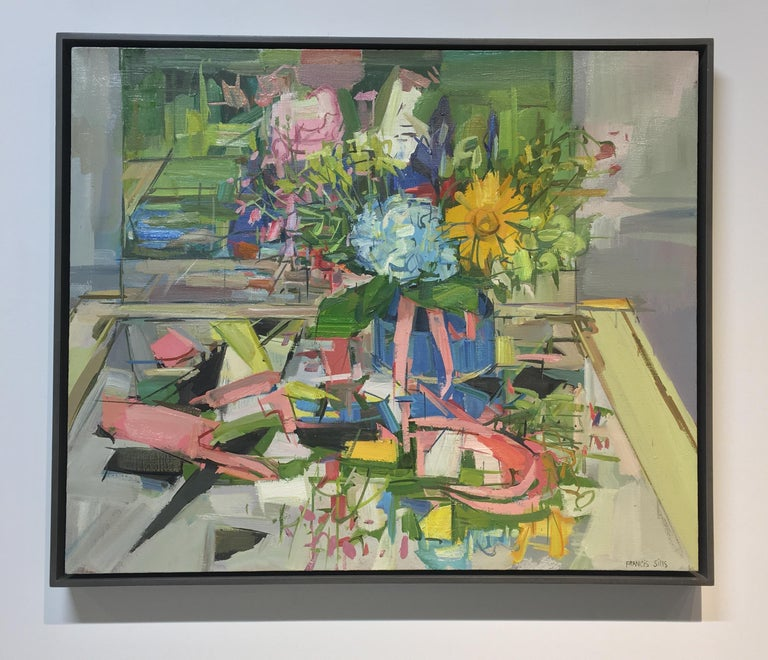 Floral Still Life II, Yellow, Blue, Pink and Green Flowers in Vase on Table - Painting by Francis Sills