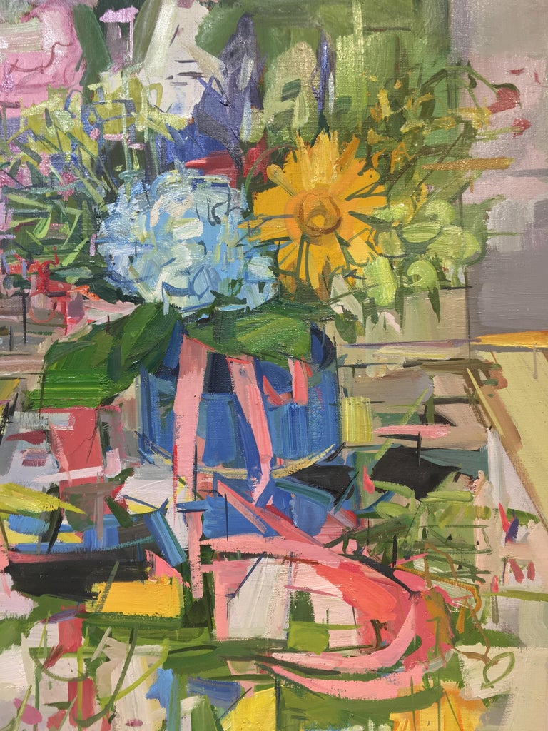 Floral Still Life II, Yellow, Blue, Pink and Green Flowers in Vase on Table For Sale 1
