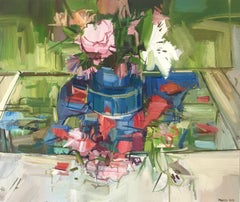 Floral Still Life, Oil Painting with Pink, White, Green Flowers in Vase on Table