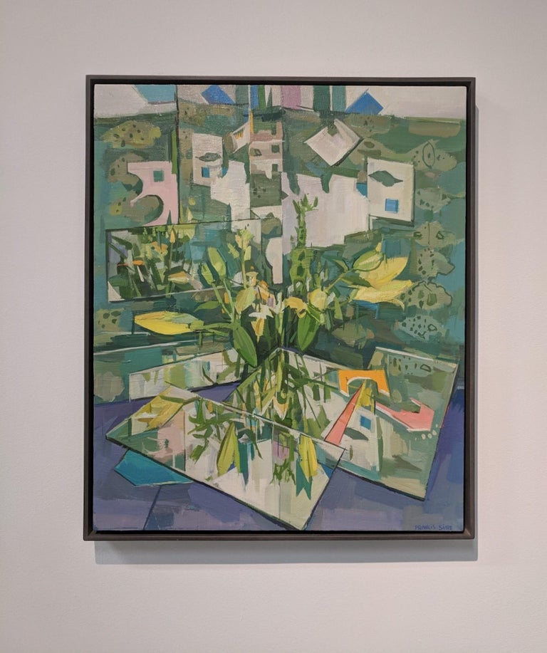 Flowers Reflected, Still Life Painting, Flowers in Vase in Yellow, Green, Blue - Gray Still-Life Painting by Francis Sills