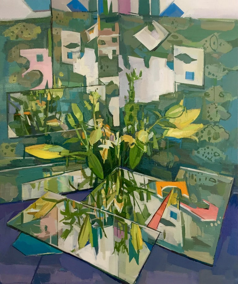 Francis Sills Still-Life Painting - Flowers Reflected, Still Life Painting, Flowers in Vase in Yellow, Green, Blue