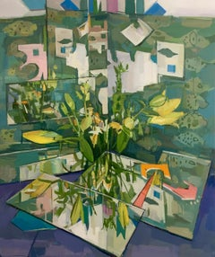 Flowers Reflected, Still Life Painting, Flowers in Vase in Yellow, Green, Blue