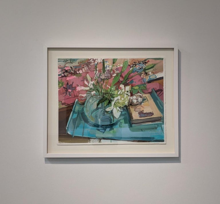 This colorful still life painting of flowers arranged in a vase is from Francis Sills' newest series of Flora Paintings. The ivory and green bouquet and bright blue tabletop are contrasted by the colorful burgundy red and blue patterns in the