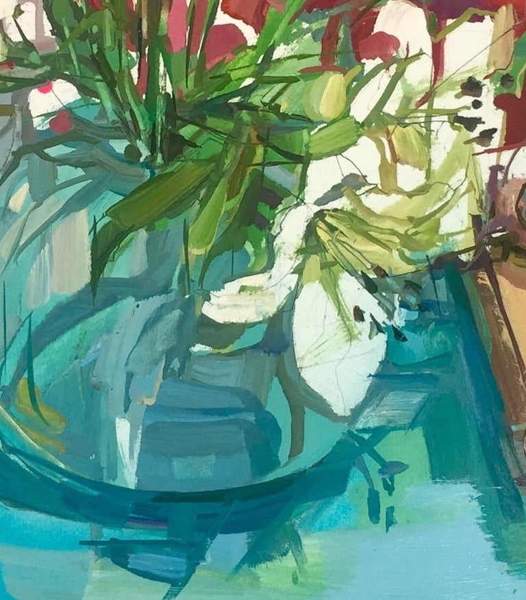 Lilies Still Life, Painting of Ivory Flowers in Vase, Green, Blue, Burgundy Red For Sale 4