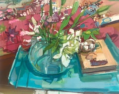 Lilies Still Life, Painting of Ivory Flowers in Vase, Green, Blue, Burgundy Red