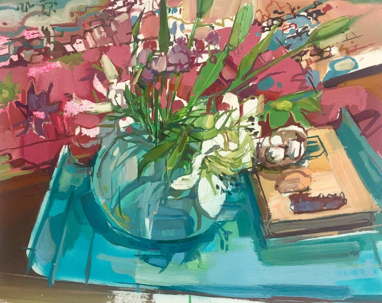 Francis Sills Still-Life Painting - Lilies Still Life, Painting of Ivory Flowers in Vase, Green, Blue, Burgundy Red