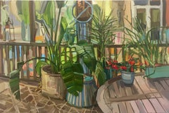 Plants on Porch, Red Flowers, Green, Yellow Potted Plants on Artist's Porch