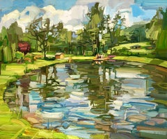 Pond at the Farm, Landscape Painting with Water, Blue Sky, Green Trees