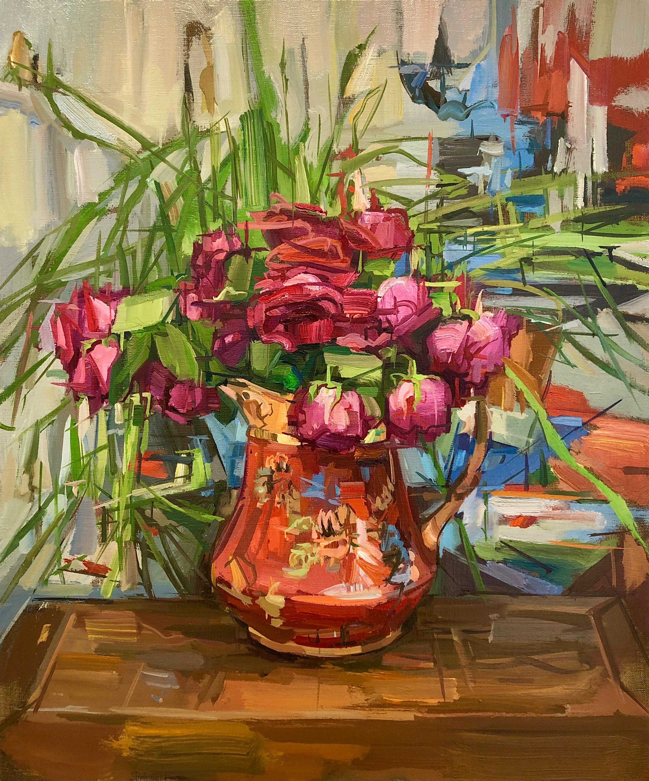 Roses, Botanical Still Life Interior Painting, Red, Pink Flowers, Floral Pitcher