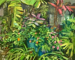 Summer Garden I, Landscape Painting, Green Plants and Red Flowers in Backyard