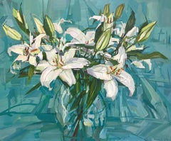 White Lilies, Still Life Painting, Flowers in Vase in Teal Blue, Green, Ivory