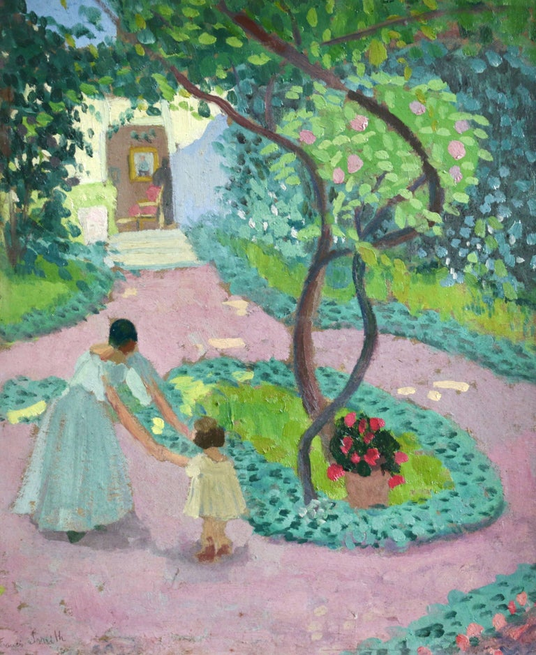 A beautiful oil on board circa 1930 by Portuguese post impressionist painter Francis Smith, depicting a mother holding hands with her young daughter under the shade of a tree in the garden on a bright summer's day. Signed lower left.