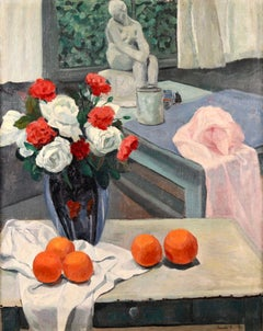 Fruit & Flowers - Post Impressionist Oil, Still Life in Interior- F Smith