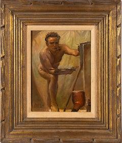 Antique American Modernist Male Nude Self Portrait Original Signed Oil Painting