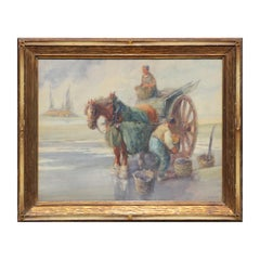 Early Impressionist Painting with a Horse Drawn Wagon