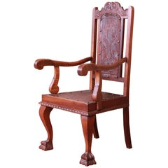 Francisco Bergamo Sobrinho Carved Walnut and Embossed Leather Throne Chair