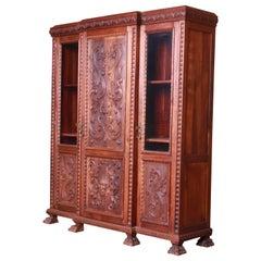 Francisco Bergamo Sobrinho Ornate Carved Walnut Bookcase, Brazil, 1930s