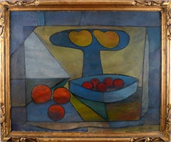 """""""Still Life of Fruits"""", 20th Century Oil on Cardboard by Artist Francisco Bores"""