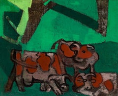 Vaches à l'ombre - Modern, Animal paintings, Oil Painting, Mid 20th century