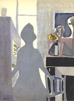 """Francisco Bores-La Femme en Bleu-14"""" x 10.5""""-Lithograph-1953-Gray"""