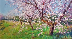 Contemporary Landscape painting of a Spanish Almond Orchard 'Almendro Huerto'