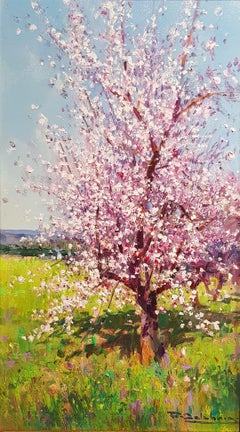 Contemporary Landscape painting of a Spanish Almond Orchard 'Blossom in Bloom I'