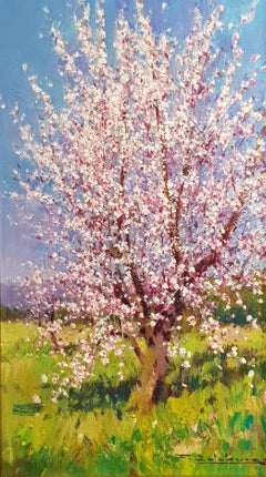 Contemporary Landscape painting of a Spanish Almond Orchard 'Blossom in Bloom II
