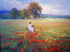 Contemporary Landscape Painting 'Picking Poppies' by Francisco Calabuig