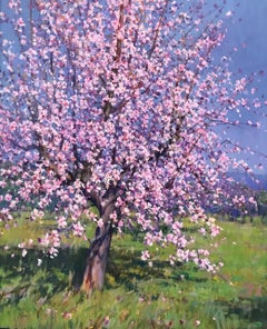 Contemporary Rural Pink Landscape painting of a Almond tree 'Blossom' byCalabuig