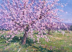 Contemporary Rural Pink Landscape 'Spring Blossom' by Francisco Calabuig