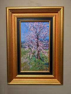 'Orchard Blossoms' Contemporary Pink Landscape Blossom painting of trees