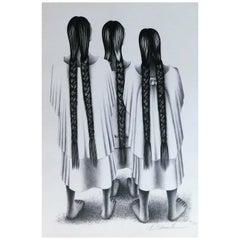 """Francisco Dosamantes Original Lithograph, 1946 """"Women of Oaxaca"""""""