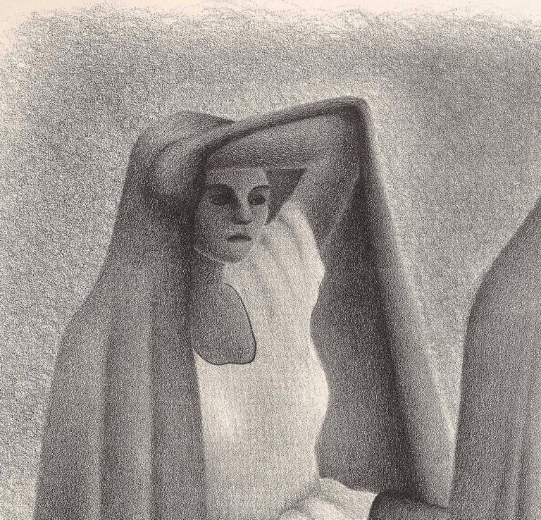 Mujeres Veracruzans (three seated women from Vera Cruz Mexico in shawls) - Print by Francisco Dosamantes