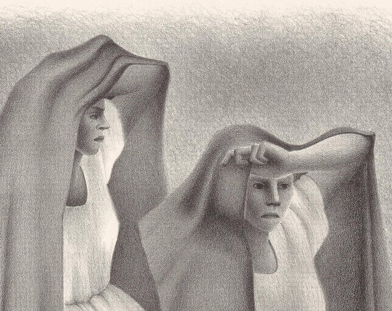 Mujeres Veracruzans (three seated women from Vera Cruz Mexico in shawls) - Modern Print by Francisco Dosamantes