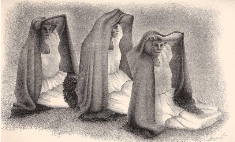 Francisco Dosamantes Figurative Print - Mujeres Veracruzans (three seated women from Vera Cruz Mexico in shawls)