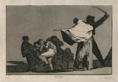 ¡ Que Guerrero! - Original Etching and Aquatint by F. Goya - 1877