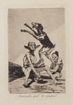 Aguarda que te unten  - Origina Etching and Aquatint by Francisco Goya - 1868