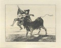 Aveugle enlevé sur les  - Original Etching by Francisco Goya - 1867