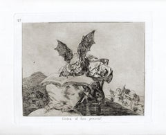 Contra el Bien General  - Original Etching by Francisco Goya - 1863