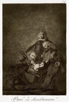 ¡Cual la Descañonan! - Original Etching by Francisco Goya - 1868