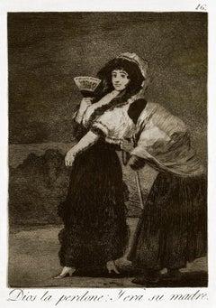 Dios la perdone: y era su madre  - Original Etching by Francisco Goya - 1868