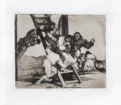 Duro es el Pasa  - Original Etching by Francisco Goya - 1863
