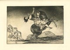 El Caballo Raptor - Original Etching - 1875