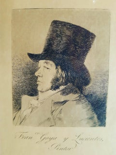 Franco Goya y Lucientes Pintor - Original Etching by Francisco Goya - 1855