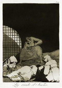 Las Rinde el Sueño - Origina Etching by Francisco Goya - 1868