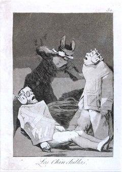 Los Chinchillas - Origina Etching and Aquatint by Francisco Goya - 1799