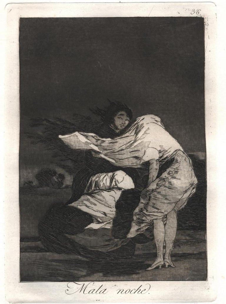 Mala Noche (A Bad Night), Plate n. 36, from Los Caprichos  Etching and aquatint on laid paper. Numbered higher and Titled lower on plate. Image Dim: cm 21.8 x 15.3, Dim: cm 29.5 x 21.3. In very good condition except some light stains highe-leftr