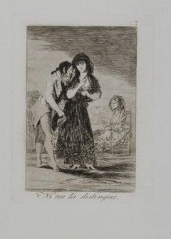 Ni Asi la Distingue - Original Etching by Francisco Goya - 1799